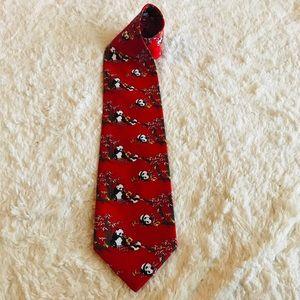 Giorgio Armani Red Silk Panda Men's Tie